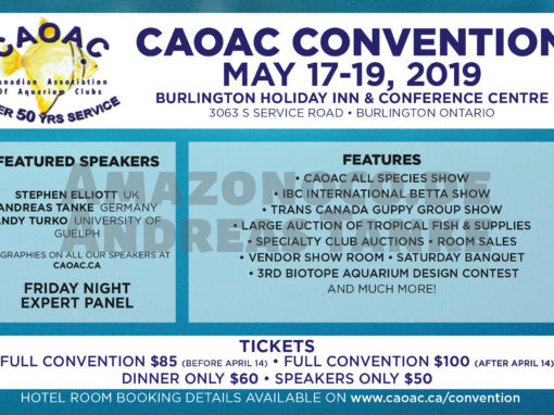 Canadian Association of Aquarium Clubs (CAOAC): annual meeting from 17th to 19th of May